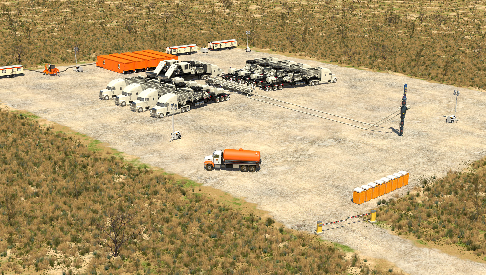 Overhead view of Stallions completions equipment and services in field