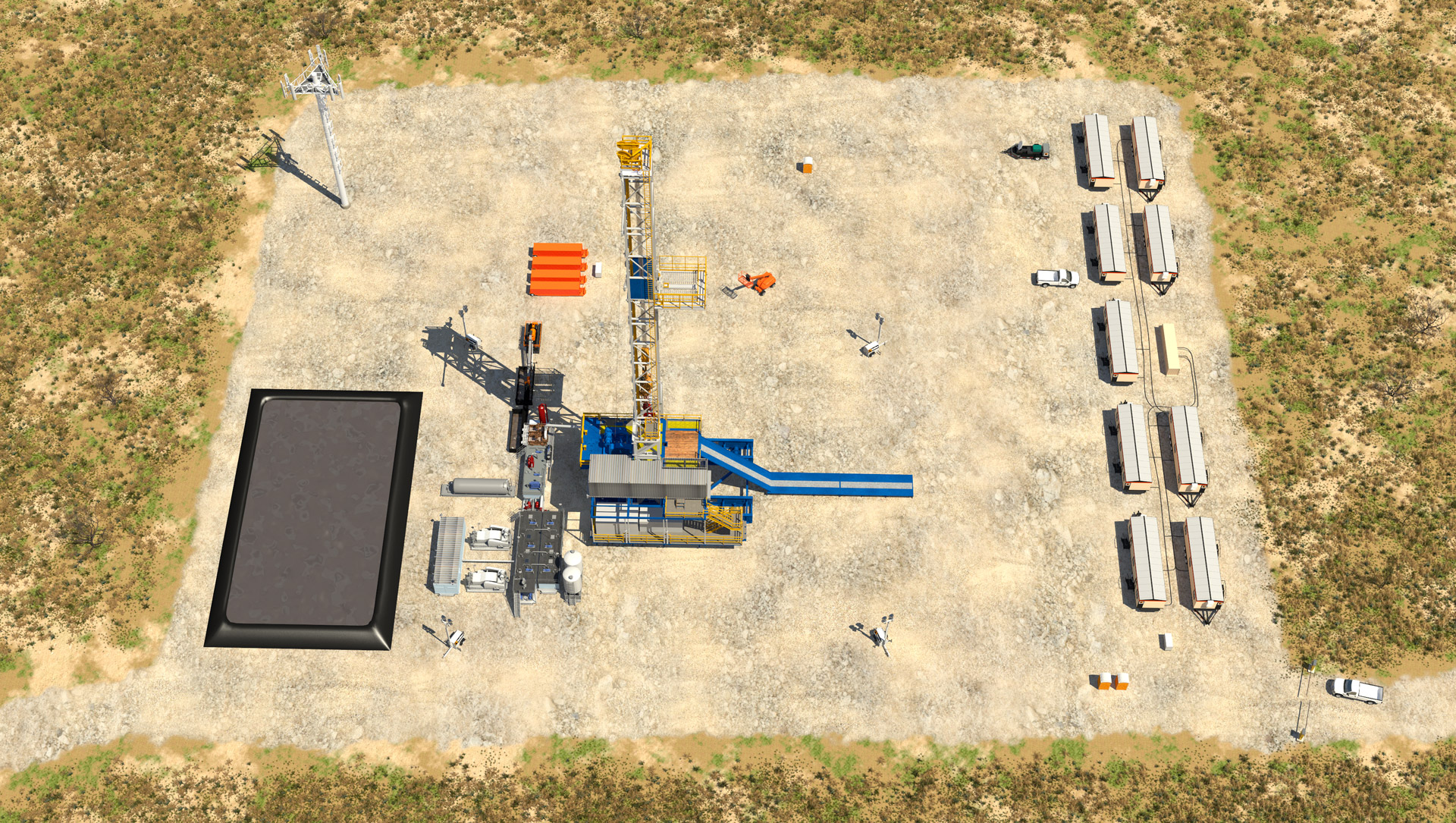 Overhead view of an oil field using Stallions Integrated Services